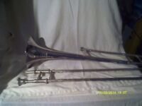 BESSON TROMBONE in SILVER PLATE in V.G.C, in an EXCELLENT CASE with mouthpiece . ++