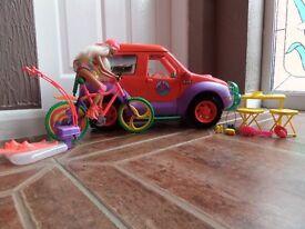 Sindy 4x4 campercan, Jetski, Bike and doll