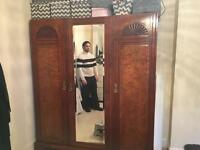 Vintage Art Deco antique Walnut wardrobe