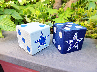 2 Jumbo Lawn Yard Wood DICE COWBOYS Blue & Gray Yahtzee,Bunco,Farkle,Home Decor
