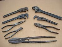 Selection of 8 Vintage Pliers..Wrenches and Tin Snips.