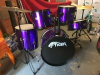Tiger full size drum kit as new