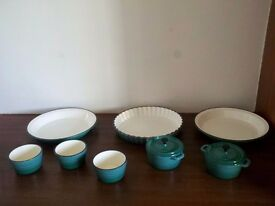 New Cast Iron Pie, Flan, Ramekin & Casserole Dishes Enamel Coated Quality! Induction Electric or Gas