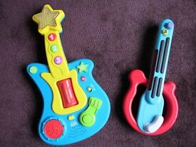 Childrens toy guitars.
