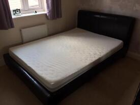 Black faux leather Double bed with memory foam mattress