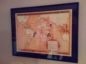 Framed art wall print Coffee Map of the World (Where Coffee Grows) in frame with mat