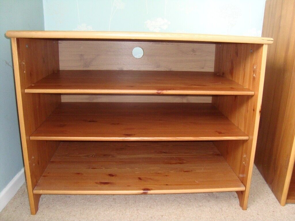 Large Solid Wood Media Cabinet With Glass Doors In Earls Barton