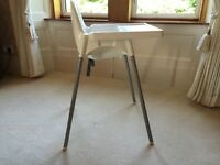 IKEA White High Chair with Safety Strap & Tray