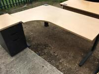 Very heavy duty 1800mm corner office desk with drawer unit