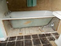 Very Heavy Cast Iron Enamel Bath from 1950s or 1960s for Restoration in Hertford, Herts