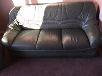 Green Leather Suite, sofa & 2 chairs **REDUCED***