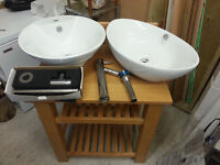 Unused Oak washbasin stand complete with two sinks, tap and fittings