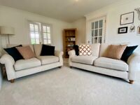 NEXT Ashford sofas (3-seater medium and 2-seater small) in Belgian soft twill fabric, & 7 cushions