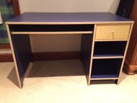 IKEA Desk. Blue, with pull out keyboard support and drawer.