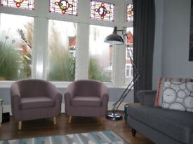 Pair Of Taupe/Grey Retro Inspired Tub Armchairs Chairs