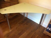 Glass corner desk/table.