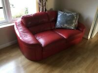 Leather Sofa's, 2 off, in good condition, deep red in colour, £300 for both.