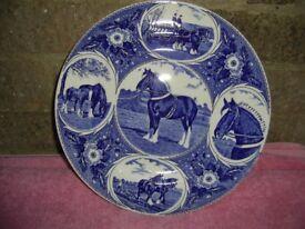 Blue China Plate Depicting Shirehorses
