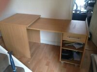Computer desk - Foldable - Extender with drawer and shelf