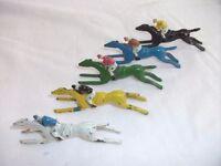 5 Vintage Chad Valley Escalado Game Pieces (Horse & Jockeys). See pics for condition.
