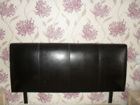 Double brown leather effect headboard