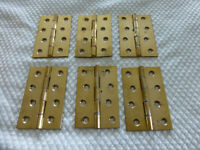 3 PAiRS SOLID BRASS 4 INCH (100mm) HINGES