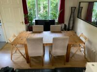 Ikea extendible table / 4 dining chairs + 2 collapsible chairs
