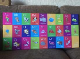 Alphabet animals canvas picture