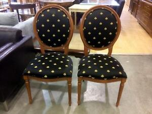Pair of Oval Back Wood Chairs with Black Moth Design- Used