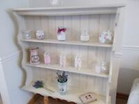 Wall dresser. Pine shabby chic. Country cream. Waxed and polished.