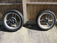 Triumph Trident Wheels, front and back, Tyres and Rims, Silver, for all T300 models