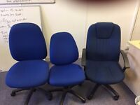 7 x blue office chairs