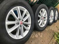 """As New 18"""" Genuine 2018 Jaguar alloy wheels +tyres 5x108 F-Pace Volvo XC90 2015-on CAN POST"""
