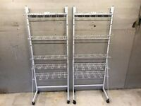 2 x Adjustable Shop Fitting Racks. Shelves can be adjusted Retail Free Standing Movable On Wheels