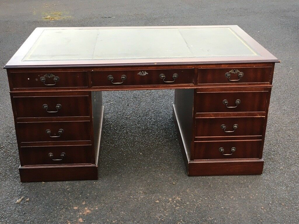 Reion Pedestal Desk 5 X 3 With Green Inlay Top Draws And
