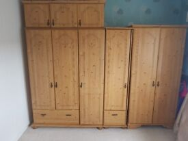 Real pine wardrobe set