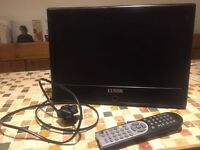 "15"" Luxor Flat screen TV with wall mount, DVD player and remote control"