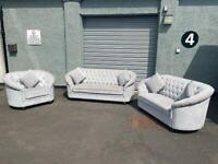 Absolutely gorgeous Chesterfield grey 3/2/2 sofas delivery 🚚 sofa suite couch furniture