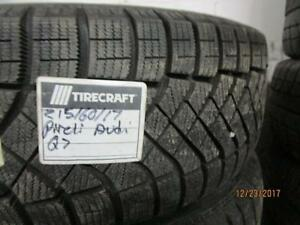 215/60R17 SET OF 4 USED PIRELLI WINTER TIRES ON AUDI Q 5 ALLOY RIMS