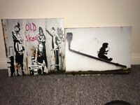 X2 Banksy Canvases £15 delivery weston super mare/worle