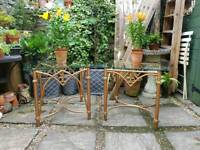 Decorative Metal & Glass Topped Pair of Coffee or Side Tables