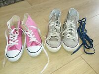 Two pairs of converse trainers size 2.5