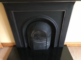 Black Iron fireplace and mantle mirror