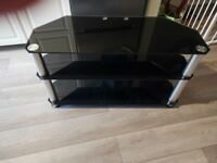 Black Glass TV Stand with Silver legs