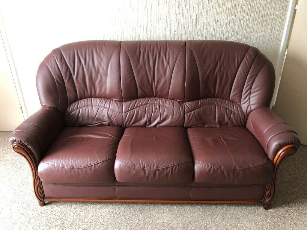Cool 3 Seater Burgundy Leather Sofa 2 Leather Arm Chairs Excellent Condition In Bournemouth Dorset Gumtree Machost Co Dining Chair Design Ideas Machostcouk