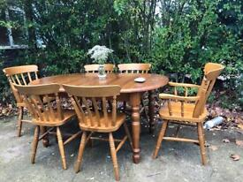 PINE TABLE AND 6 CHAIRS FREE DELIVERY LDN🇬🇧SOLID WOOD