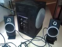 Pc laptop bass speaker system creative inspire bass and 2 treble units