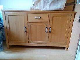 Solid wood sideboard with 3 cupboards and one drawer