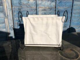 Decorative Metal and fabric folding storage rack
