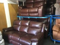 NEW / EX DISPLAY Leather LazyBoy Warren 3 + 3 + 2 Recliner Sofas
